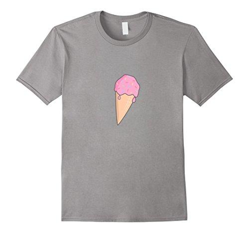 Mens Strawberry Ice Cream Shirt National Ice Cream Cone Day Shirt Medium Slate