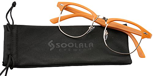 SOOLALA Classic Clubmaster Readers Horn-rimmed Wayfarer Reading Glasses with Pouch, Woodgrain, - Horn Rimmed Glasses Uk