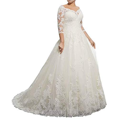 GFDress Women A Line Applique Beaded Lace Wedding Dress 2019 Luxury Chapel Train Bridal Halter Wedding Gowns 16 ()