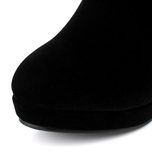AgooLar Damen Hoher Absatz Rein Rund Zehe Mattglasbirne Ziehen auf Stiefel Schwarz