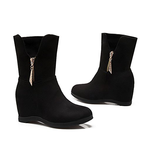 Black Round Closed Heels Women's Kitten Toe Solid Suede Imitated Boots Zipper Allhqfashion fIXgq