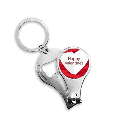Happy Valentine's Day Image avec rayures Rouge et blanc Cœur Motif illustration Porte-clés en métal Bague multifonction Pince à ongles Décapsuleur de voiture Keychain Meilleur Cadeau de Charm