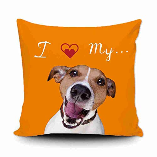 GUGLILI I Love My Dog Jack Russell Terrier Throw Pillow Cover Cushion Cover Durable Canvas Decorative Pillowcase for Sofa Car 18x18 Inch,Orange