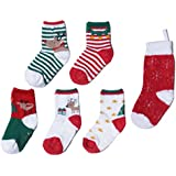 Growbabygrow Baby Toddler 5Pair Christmas/Holiday Socks with Gripper/Nonskids and BONUS Stocking(12-24months)