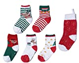 Growbabygrow Baby Toddler 5Pair Christmas Socks With Gripper and 1pc Big Stocking(12-24months) (2-4years)