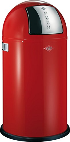 Wesco Pushboy - German Made - Push Door Trash Can, Powder Coated Steel, 13.2 Gallon / 50L , Red by Wesco