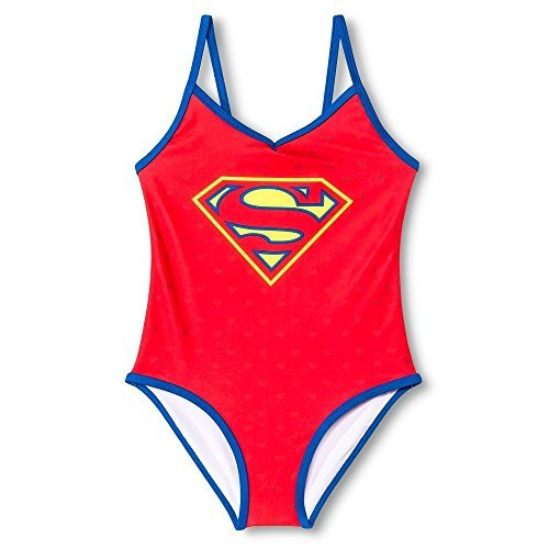 Supergirl Girls' One Piece Swimsuit Calypso Blue (Medium (Sizes 7-8))