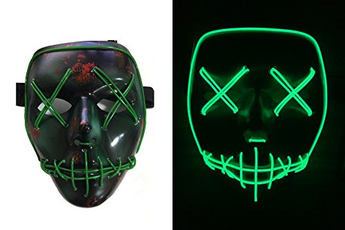 NIGHT-GRING Frightening Wire Halloween Cosplay LED Light up Mask for Festival Parties, Green (Halloween Rave)