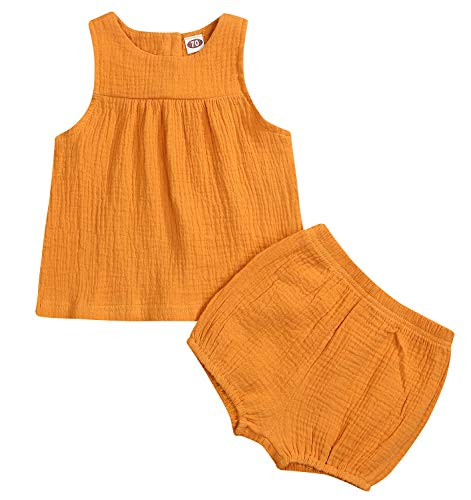 - Younger star Baby Outfits Unisex Girls Boys Cotton Linen Blend Tank Tops and Bloomers (Yellow, 3-4 Years)