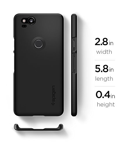 Large Product Image of Spigen Thin Fit Google Pixel 2 Case with SF Coated Non Slip Matte Surface for Excellent Grip for Google Pixel 2 (2017) - Black