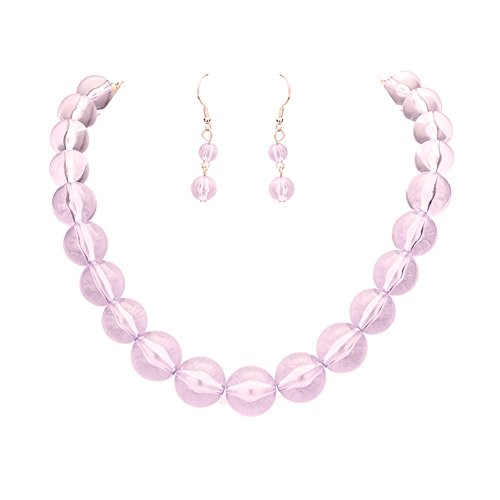 Chunky See Through Transparent Lavender Lucite Acrylic Bubble Bead Necklace 18