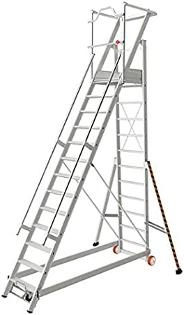Tubesca - Escalera de estantería segura de aluminio 13 peldaños, altura de acceso 4,83 m máx.: Amazon.es: Bricolaje y herramientas