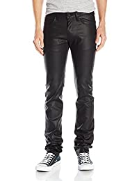Naked & Famous Denim mens Skinnyguy Black Waxed Stretch Jeans