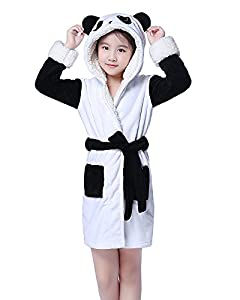 NEWCOSPLAY Unisex Bathrobe Children's Unicorn Robe Hooded Sleepwear