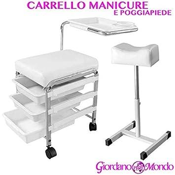 Carrito Taburete Reposapiés y manicura pedicura profesional esteticista: Amazon.es: Belleza