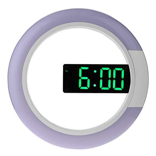 ETbotu Chic moderno reloj de pared con forma de anillo hueco LED con reloj despertador con temperatura para el hogar,...