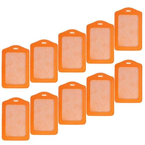 (10Pcs Candy Color PU Leather ID Card Holder Bank Credit Card Bus Card Holder (Color - Orange))