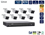 FLIR PoE Home Security Camera System with 16Ch 4TB NVR and (8) 2K HD Outdoor IP Bullet Camera, 4X Motorized Optical Zoom, Night Vision, Motion Detection, Email Alert (Includes 100ft Cat5e Cable)
