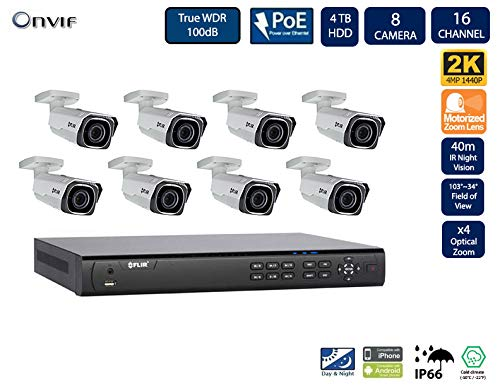 FLIR PoE Home Security Camera System with 16Ch 8 Port 4TB NVR and (8) 2K HD Outdoor IP Bullet Camera, 4X Motorized Optical Zoom, Night Vision, Motion Detection (Without 100ft Cat5e Cable)