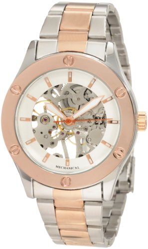 "Breda Women's 5168-TTSilvRose ""Addison"" Mechanical See-Through Metal Band Watch"