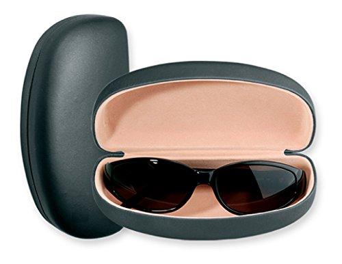 Large Sunglasses Case For Men & Women, Hard Shell Eyeglass Case In Smooth Matte Black