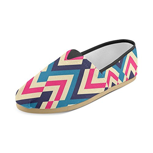 D-Story Fashion Sneakers Flats Womens Classic Slip-On Canvas Shoes Loafers Chevron IYYKEs