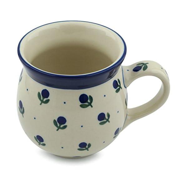 Polish Pottery Coffee Bubble Mug 16 oz Blue Buds