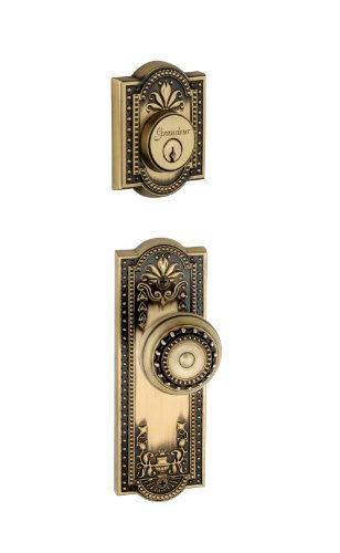 Grandeur Parthenon Plate with Parthenon Knob and Matching Deadbolt Complete Single Cylinder Combo Pack Set, Vintage - Parthenon Single Brass