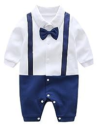 Newborn Baby Boy Gentlemen Tuxedo Jumpsuit Formal Wedding Birthday Romper Outfits Bowknot Onesie, 3-6 Months