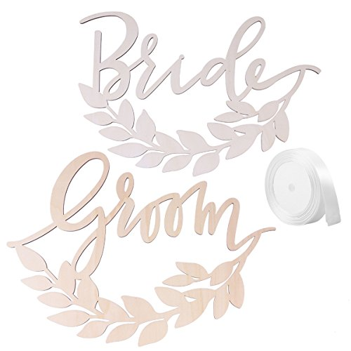 BESTOYARD 2pcs Bride Groom Wedding Chair Signs Wooden Chair Back Signs with Wheat for Bride and Groom Wedding Chairs Hanging ()