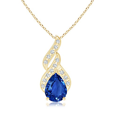 GIA Certified Sapphire Teardrop Flame Pendant with Diamonds in 18K Yellow Gold (13.64x11.15x5.60mm Blue (18k Gold Pear Shaped Sapphire)