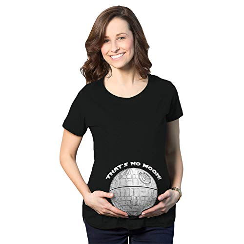 Make It Yourself Baby Halloween Costumes (Maternity Thats No Moon Cute T Shirt Funny Pregnancy Announcement Baby Bump Tee (Black) -)