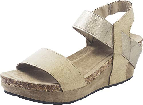 Cambridge Select Women's Open Toe Stretch Strappy Chunky Cork Platform Wedge Sandal,7 B(M) US,Nude