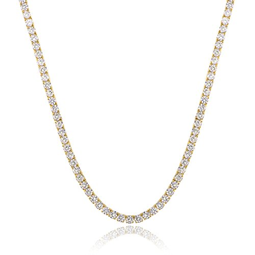 GMESME 18K Gold Plated 4.0mm Cubic Zirconia Classic Tennis Necklace 18 Inch (Gold Tennis Necklace)