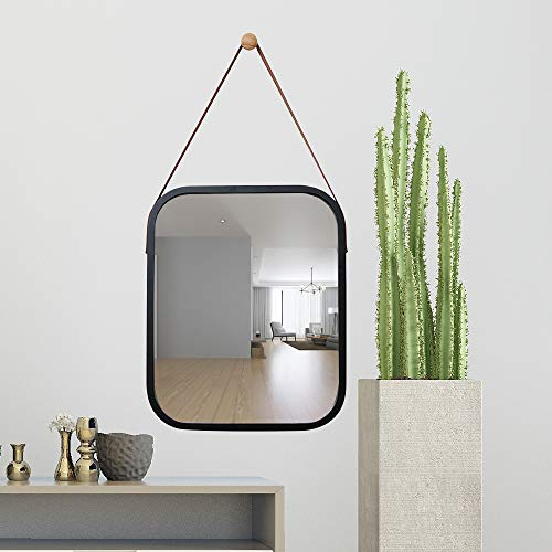 Bamboo Black Mirror - TZAMLI Wall-Mounted Mirror Simple Style Bathroom Bedroom Wall-Mounted Mirror, Solid Bamboo Frame Adjustable Vanity Mirror, Home Decoration (Black, 15.912.9in)