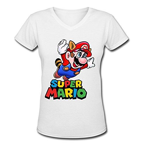 ZHENGAIMEI Women's Super Mario Bros Organic Cotton V-Neck Teeshirt