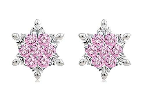 findout bleu / blanc / rose / améthyste / multicolore Flocon de cristal collier pendentif + boucles d'oreilles. .pour femmes, filles (f1634)