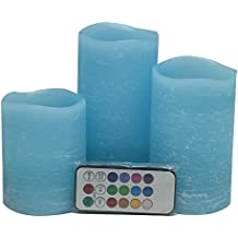 Adoria Blue Led Candles Auto-Cycle Timer-Remote Control Real Wax Rustic Flicker Light--3 of set, dia3 by tall 4,5, 6inch,Ocean Scent