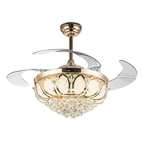 42 inch Crystal Fan Light Invisible Retractable Blade Ceiling Fan Light 3 Change Light Silent Fan Chandelier Interior Decoration Ceiling Fan (Gold) ...