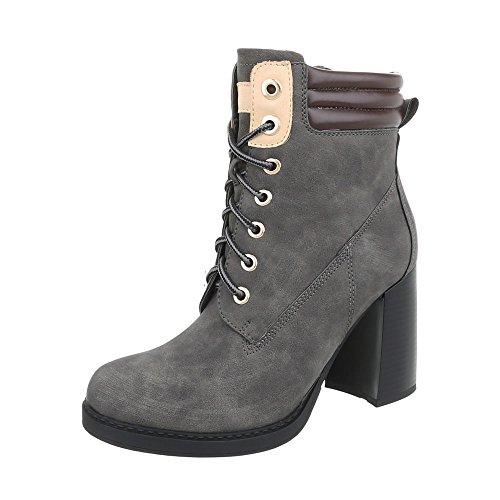 Mini Botines con Design Cordones Ns05 Tacón Botas Ital Zapatos para Mujer Gris Z8nXAq