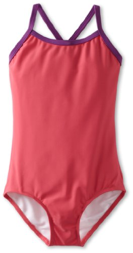 Kanu Surf Little Girls' Layla Beach Sport Banded One Piece Swimsuit, Solid Raspberry, 5