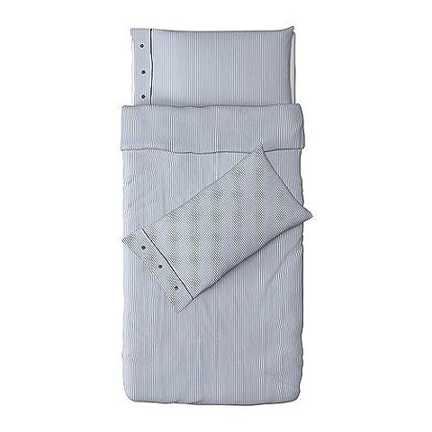 Ikea Nyponros Duvet Cover and Pillowcase, White/Blue, Twin (Ikea Twin Bedding)