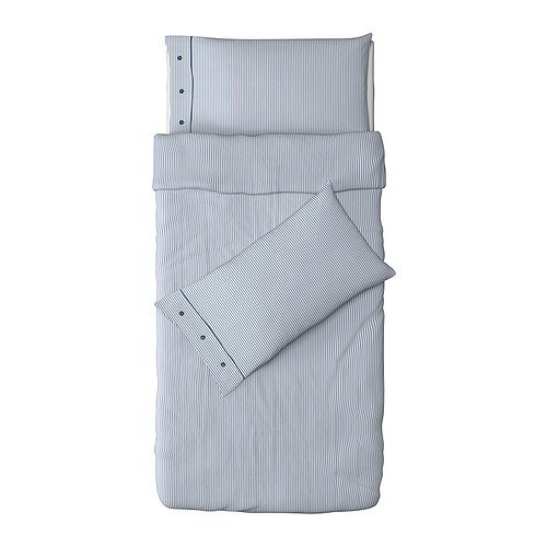 IKEA Nyponros Duvet Cover and Pillowcase, White/Blue, Twin