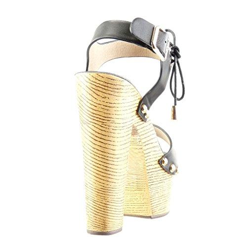 Angkorly - Zapatillas De Moda Sandalias De Mulas De Mujer Con Tachuelas Cuñas De Madera Metálica Tacón De Bloque De 14 Cm De Tacón Alto - Negro