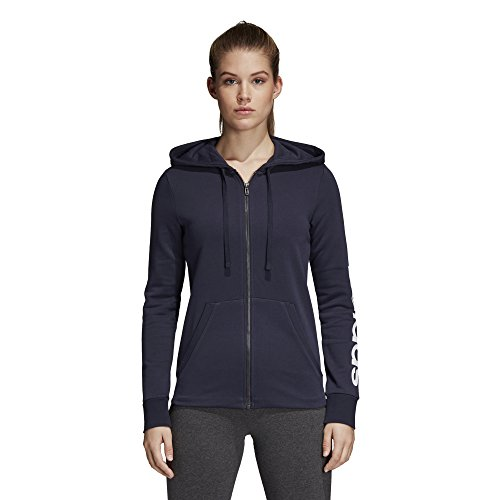 adidas Women's Essentials Linear Full Zip Hoodie Legend Ink/White Medium