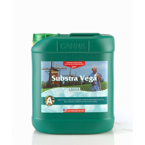5 Liter - Substra Vega - Part A and B - Soft Water - Veg Nutrient - Developed For Run to Waste Inert Mediums - CANNA - On Vegas Run The