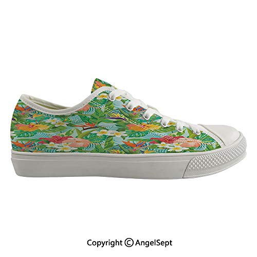 (Durable Anti-Slip Sole Washable Canvas Shoes 16.53inch Vintage Cartoon Style Image of Hawaiian Flowers Crepe Gingers Decorative,Blue Light Green Orange and Pink Flexible and Soft Nice Gift)
