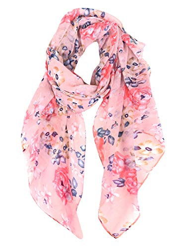 GERINLY Spring floral Scarfs for Women Flowers Print Headwraps Soft Hijab (Pink)