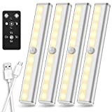 Under Cabinet Lighting Remote Control, SZOKLED Rechargeable LED Closet Light, Wireless Under Counter Lighting Dimmable LED Strip Lights Bar for Closets Hallway Stairway, Warm White, 4-Pack