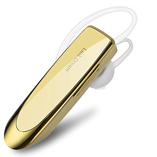 Bluetooth Earpiece- Wireless Bluetooth Headset Noise Cancelling with Mic 24Hrs Talktime Hands-Free 1440Hrs Standby Time Headphones Compatible with iOS/Android Smart Phones, Driver Trucker, Gold - Gold Bluetooth Headset